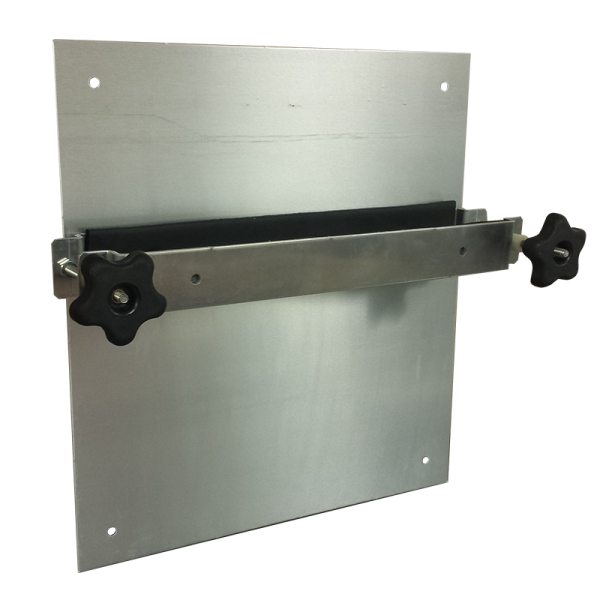 Equipment Mounting Bracket installed on removable backplate of AL161610 Aluminum Enclosure
