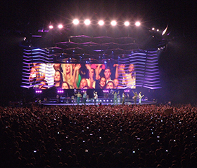 Portable lighting and surveillance solutions for outdoor concert and sport arenas