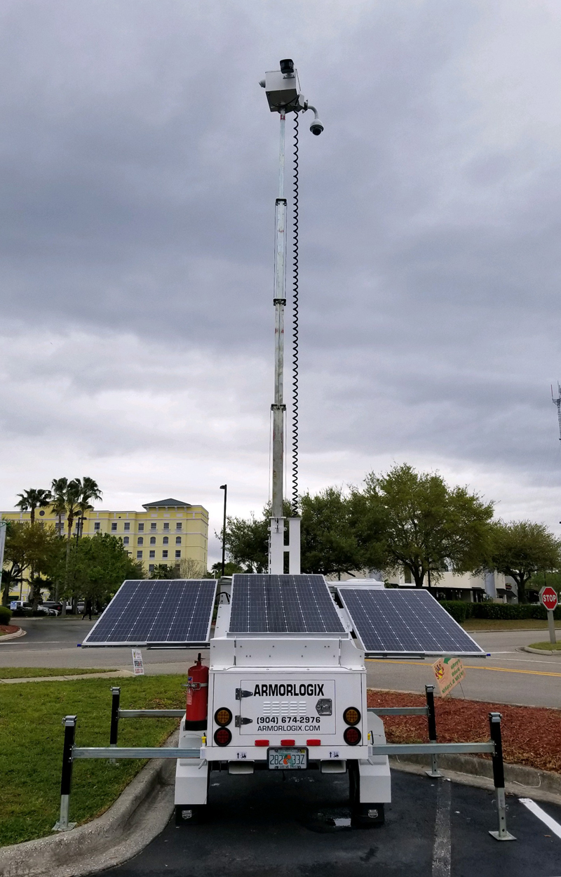 ArmorLogix Solar Surveillance Trailer at restaurant event